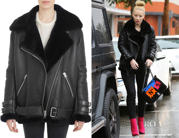 Iggy Azalea's Acne Studios Shearling-Lined Leather Velocite Oversize Moto Jacket