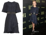 Isabel Lucas' Prabal Gurung Textured-jacquard ruffle dress