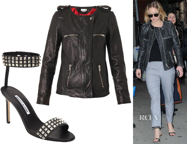 Jennifer Lawrence's Étoile Isabel Marant Leather Bacuri Moto Jacket & Manolo Blahnik Studded Rocco Ankle-Band Sandals