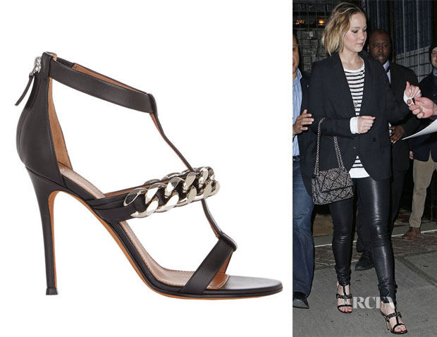 Jennifer Lawrence's Givenchy Mirtilla Chain-Link T-Strap Sandals
