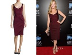 Jennifer Westfeldt's ZAC Posen Sleeveless Sweetheart Satin Dress