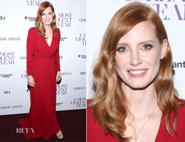Jessica Chastain In Giorgio Armani - 'A Most Violent Year' New York Screening