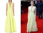 Jessica Chastain's Erdem Plunging Floor-Length Jacquard Gown