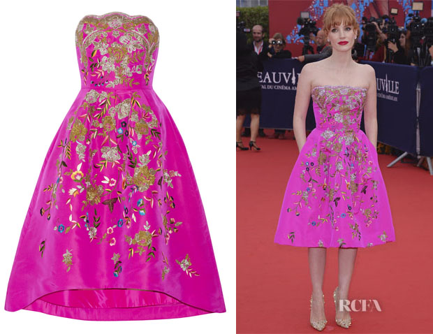 Jessica Chastain's Oscar de la Renta Embroidered silk-faille dress