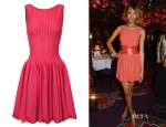 Jourdan Dunn's Alaia Striped Stretch-Knit Dress