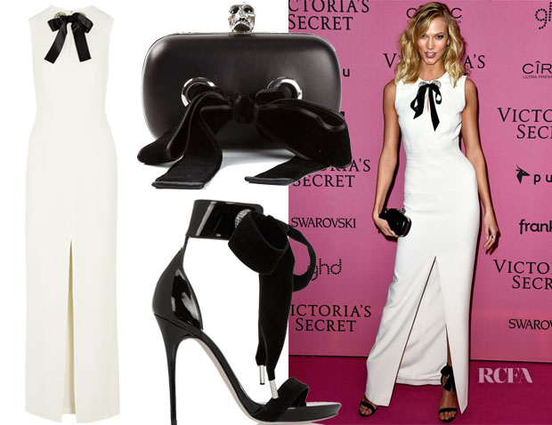 Karlie Kloss' Alexander McQueen Bow-Embellished Crepe Gown, Alexander McQueen Swarovski Crystal-Embellished Patent-Leather Sandals & Alexander McQueen 'Skull' Box Clutch