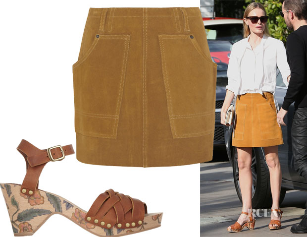 Kate Bosworth's Coach Suede Mini Skirt & Isabel Marant Bianca floral-print leather sandals