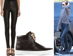 Kendall Jenner's Balenciaga Leather Leggings & Versace Medusa High-Top Sneakers