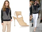 Kendall Jenner's Band of Outsiders Mixed Plaid Sweatshirt Top &  Aquazzura Sexy Thing Cutout Suede Sandals