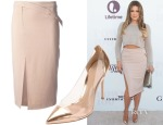 Khloe Kardashian's A.L.C. Side Slit Fitted Midi Skirt & Gianvito Rossi Metallic Cap-Toe PVC Pumps