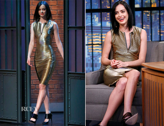 Krysten Ritter In Versace Late Night With Seth Meyers