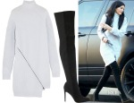 Kylie Jenner's Opening Ceremony Zip-Detailed Ribbed Wool Sweater Dress & Gianvito Rossi Osaka Suede Over-The-Knee Boots