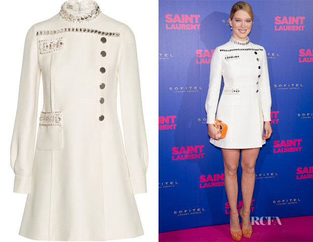 Lea Seydoux's Miu Miu Embellished Mini Dress