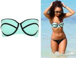 Leigh-Anne Pinnock's River Island Light Green Textured Bustier Bikini Top