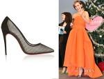 Lily Collins' Christian Louboutin Follies Resille 100 Suede-Trimmed Mesh Pumps