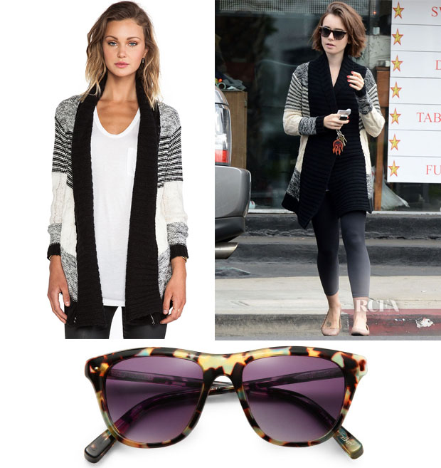 Lily Collins' Heartloom Dafne Sweater & Elizabeth and James Talbert Sunglasses