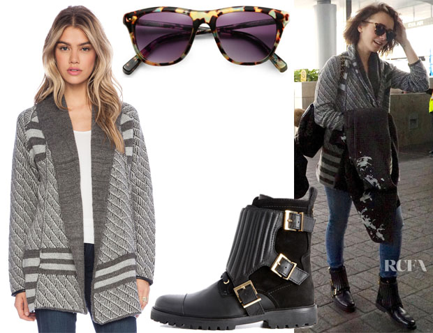 Lily Collins' heartLoom Betson Sweater Heartloom, Elizabeth and James Talbert Sunglasses &  Zadig & Voltaire Low Boots Zag Biker Deluxe Boots