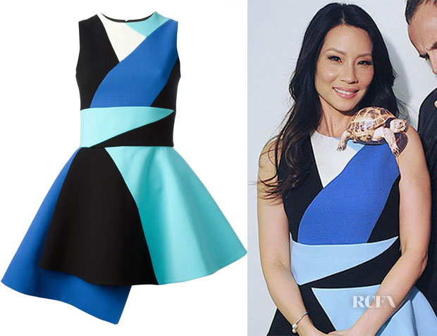 Lucy Liu's Fausto Puglisi colour block skater dress