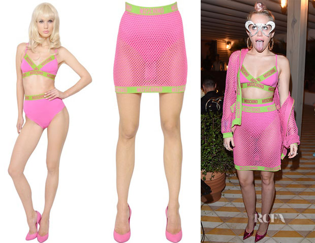 Miley Cyrus' Moschino Logo Bra Set & Moschino Fishnet Skirt