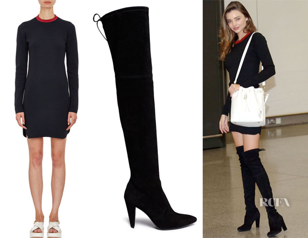 Miranda Kerr's Edun Compact Rib-Knit Sweater Dress & Stuart Weitzman Highland Stretchy Suede Over-the-Knee Boots