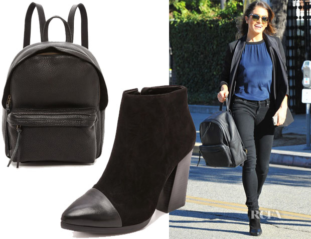 Nikki Reed's Madewell Grainy Leather Backpack & Tory Burch Rivington Chunky Booties
