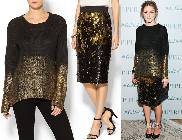 Olivia Palermo's Piperlime Gold Dipped Sweater & Piperlime Midi Sequin Pencil Skirt