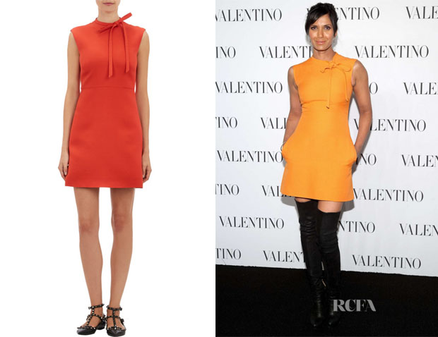 Padma Lakshmi's Valentino Crepe Tie-Neck Sheath Dress