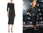 Paris Hilton's Alice + Olivia Stein Scalloped Beaded 3/4-Sleeve Sheath Dress