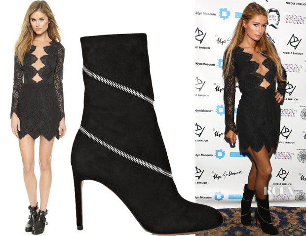 Paris Hilton's For Love & Lemons Noir Lace Mini Dress & Alaia Zipped suede ankle boots