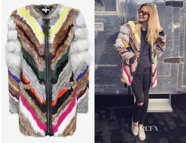 Poppy Delevingne's Elizabeth and James Tarra Multicolour Fur Coat
