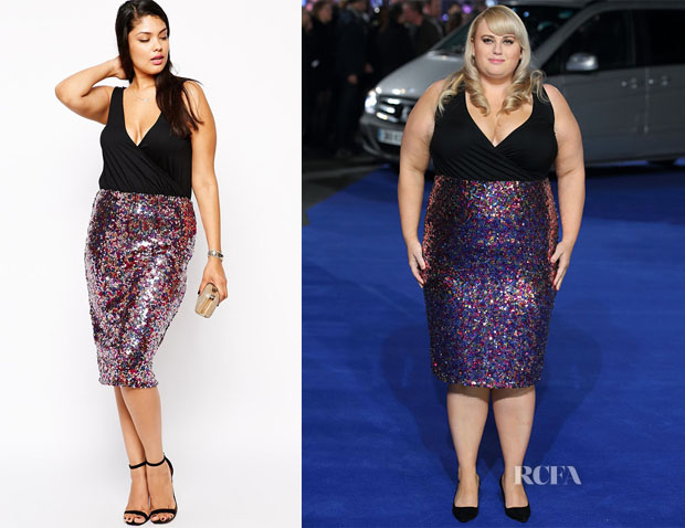 Rebel Wilson's ASOS Curve V-Neck Dress With Sequin Skirt