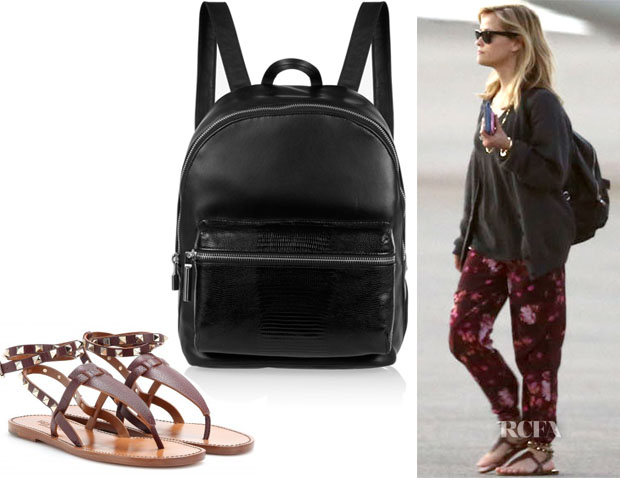 Reese Witherspoon's Elizabeth & James Cynnie leather backpack & Valentino Rockstud Double leather sandals