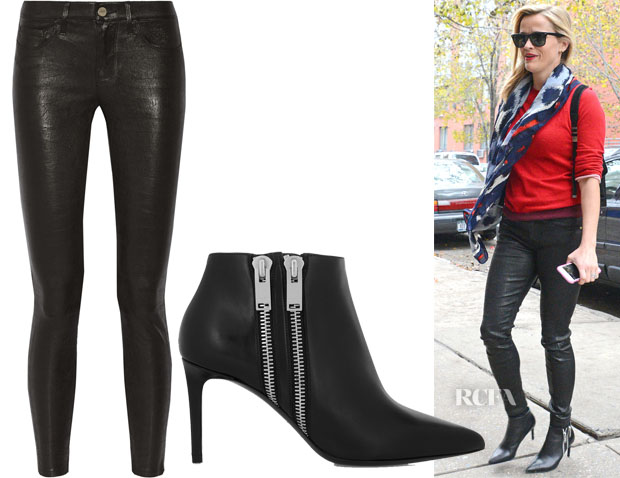 Reese Witherspoon's Frame Denim Le Skinny Stretch-Leather Pants & Saint Laurent Zipped Leather Ankle Boots