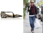 Reese Witherspoon's Jimmy Choo Gamble Patent-Trimmed Calf Hair Point-Toe Flats