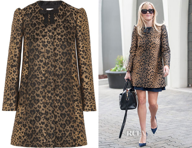 Reese Witherspoon's RED Valentino Bow-embellished leopard-jacquard coat