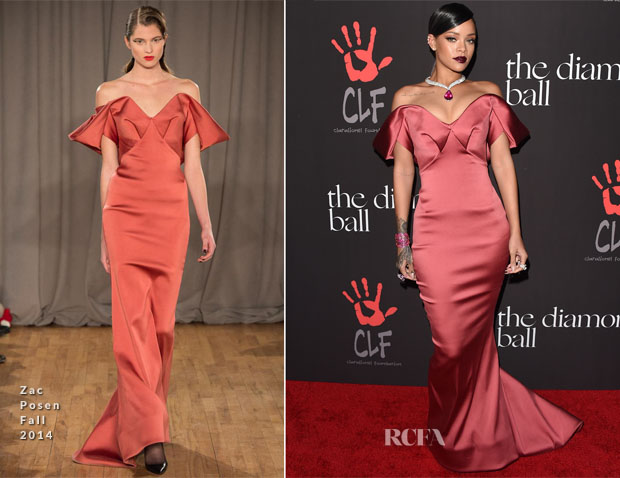 Rihanna In Zac Posen - Inaugural Diamond Ball for the Clara Lionel Foundation