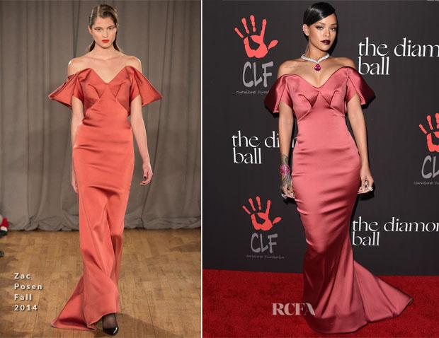 Rihanna In Zac Posen - Inaugural Diamond Ball for the Clara Lionel Foundation