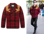 Robbie Williams' Saint Laurent Suede-Panelled Check Wool Lumberjack Jacket