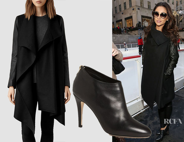 Shay Mitchell's AllSaints Hyde Monument Coat & Jimmy Choo 'Mendez' Booties