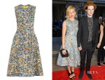 Sienna Miller's Roksanda Molten-Print Sleeveless Dress