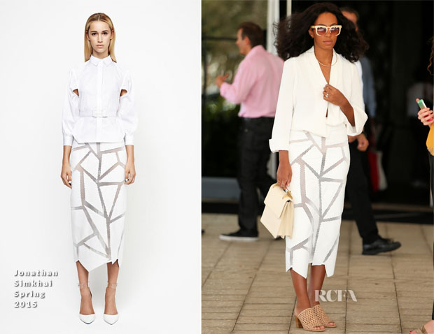 Solange Knowles In Camilla and Marc & Jonathan Simkhai - W Hotel for Art Basel