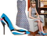 Taylor Swift's Osman Tile Brocade Dress & Paul Andrew wavy patent striped pumps