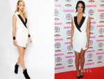 Tulisa Contostavlos' Self Portrait Sculpted Tuxedo Dress