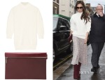 Victoria Beckham's Victoria Beckham Cotton-Blend Turtleneck Sweater & Victoria Beckham Oxblood Zip Pouch