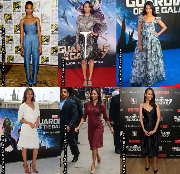 Which Your Favourite Zoe Saldana 'Guardians Of The Galaxy' Promo Tour Look