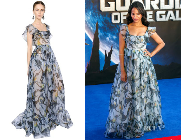Zoe Saldana's Valentino Monkey Printed Silk Organza Dress