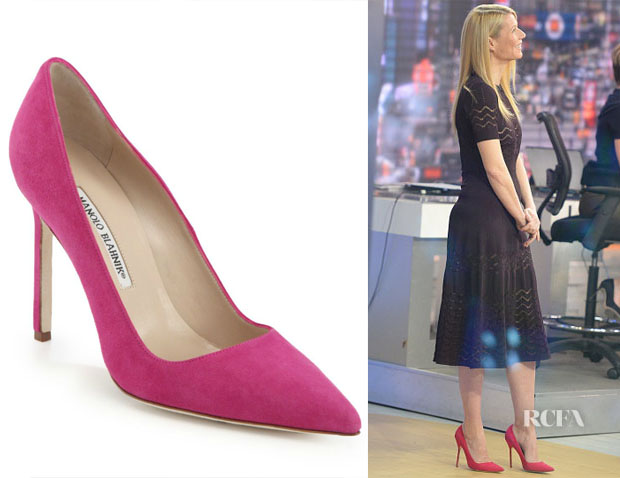 2 Gwyneth Paltrow's Manolo Blahnik BB Suede Point-Toe Pumps