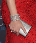 Emily Blunt's Jimmy Choo 'Carmen' clutch and Lorraine Schwartz platinum rock-crystal diamond cuff