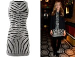 Abbey Clancy's Balmain Embellished Pencil Dress