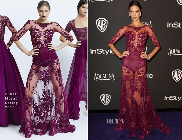 Alessandra Ambrosio In Zuhair Murad - 2015 InStyle and Warner Bros 72nd Annual Golden Globe Awards Post-Party